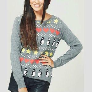 Sugarhill Grey & Multi Marl Penguin Heart Sweater